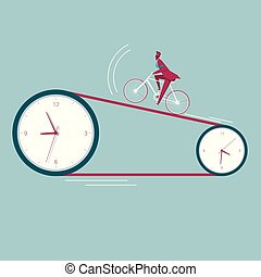 Businessman riding a bicycle on the clock. The background is blue.