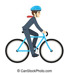 Businessman riding a bicycle - Young businessman riding a...