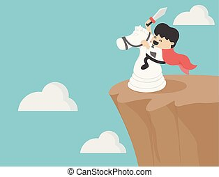 businessman riding a chess horse On the cliff