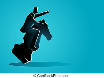Businessman riding a chess knight