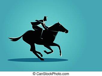 Businessman riding a horse