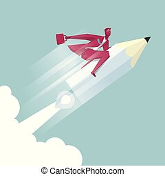 Businessman riding a pencil in mid air. The background is blue.