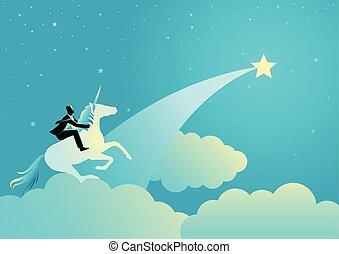 Businessman riding a unicorn