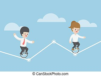 Businessman riding a unicycle and trying to balance on a graph