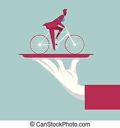 Businessman riding bicycle in the tray. The background is blue.