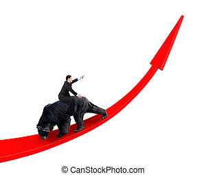 Businessman riding black bear on red arrow up trend line