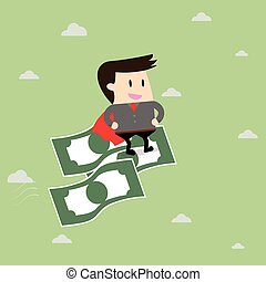 Businessman riding flying money. Business concept cartoon...