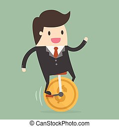 Businessman Riding Monocycle. - Business Concept...