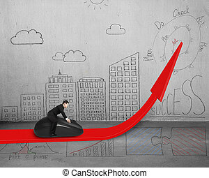 Businessman riding mouse on red arrow with doodles on wall