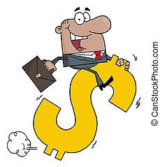 Businessman Riding On A Dollar