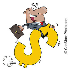 Businessman Riding On A Dollar