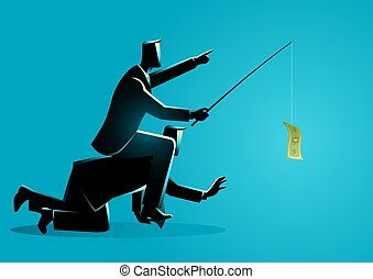 Businessman riding on back of another businessman or employee by giving money as a bait