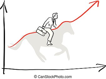 businessman riding on shadow of horse to make the graph up vector illustration sketch hand drawn with black lines isolated on white background
