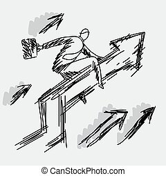 businessman riding on the upward graph vector illustration doodle sketch hand drawn with black lines isolated on gray background. Business success concept. Editable artwork.
