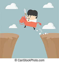 Businessman riding over obstacles.