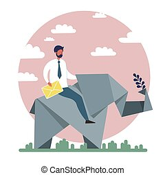 Businessman riding paper Origami toy elephant. Flat style. Cartoon vector illustration
