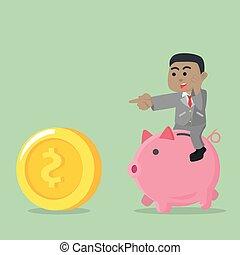 businessman riding piggybank chasing coin