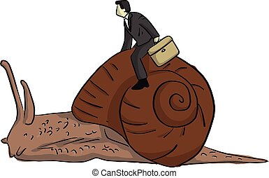 businessman riding snail vector illustration sketch doodle hand drawn with black lines isolated on white background