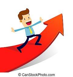 Businessman Riding Success Progress Arrow