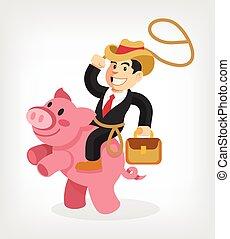 Businessman riding