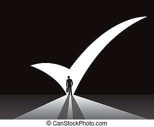 businessman & right tick mark door