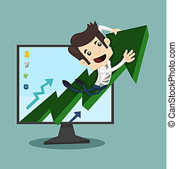 Businessman rising arrow with growing , eps10 vector format