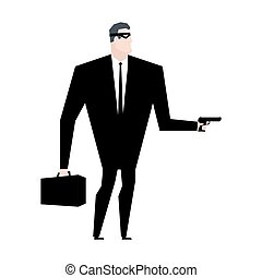 Businessman robber. Business robbery. Boss criminal. Vector illustration