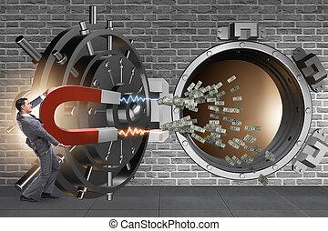 Businessman robbing bank in financial crime concept
