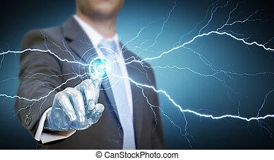 Businessman robot hand