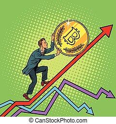 businessman roll a bitcoin coin up