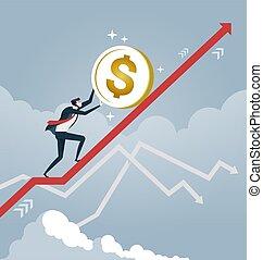 Businessman roll a dollar coin up on arrow. Business concept vector