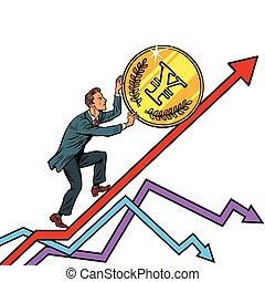 businessman roll a yen coin up