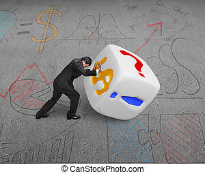 businessman rolling white dice