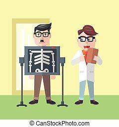 Businessman rontgen flat color cartoon illustration