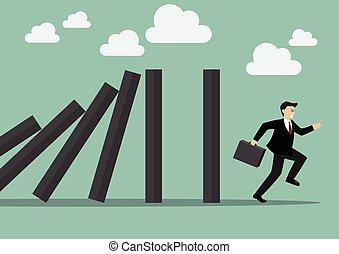 Businessman run away domino effect