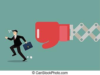 Businessman run away from big boxing glove hand