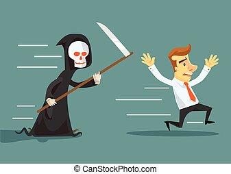 Businessman run away from death