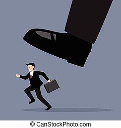Businessman run away from stomping foot