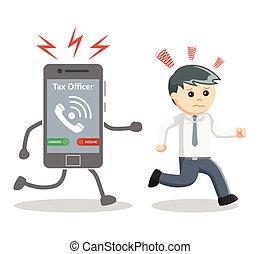 Businessman run away from tax offic