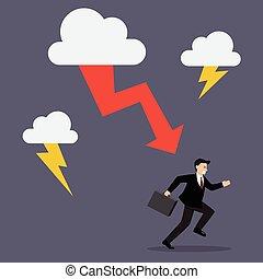 Businessman run away from thunderstorm