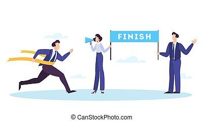 Businessman run cross to the finish line. Winner