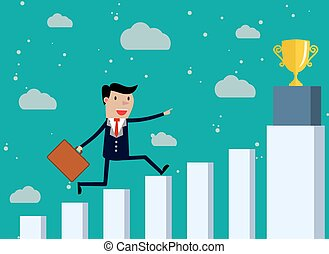 Businessman Run Financial Bar Graph