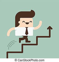 Growth - Businessman run in a Growth