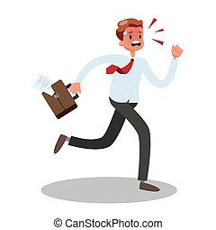 Businessman run in a hurry. Stressed man in a suit