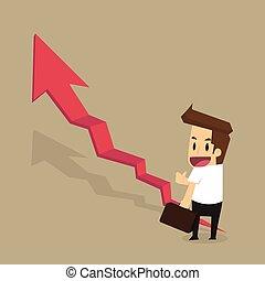 businessman run on stair red arrow
