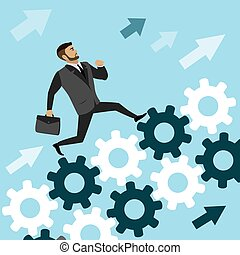 businessman run on  the gears to success,