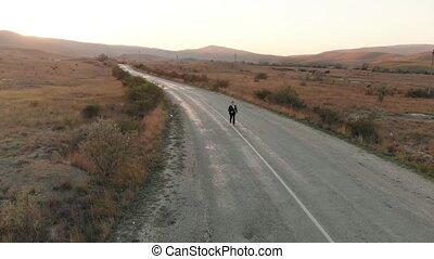 Businessman run on the road - Businessman run on the...