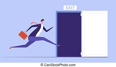Businessman run to open exit door. Emergency escape and evacuation from office vector business concept