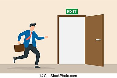 Businessman run to open exit door. Emergency escape and evacuation from office. Vector illustration flat design. Emergency exit.