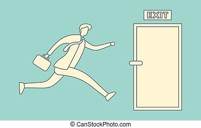 Businessman run to open exit door illustration